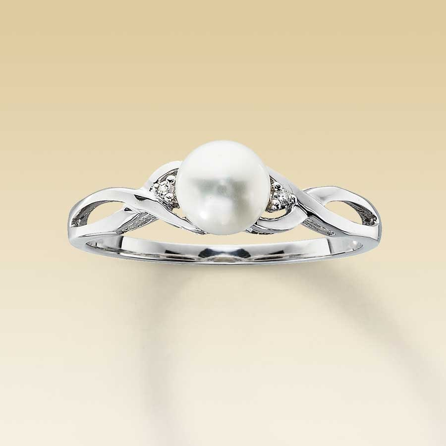 Kay 10K White Gold Diamond and Cultured Pearl Ring