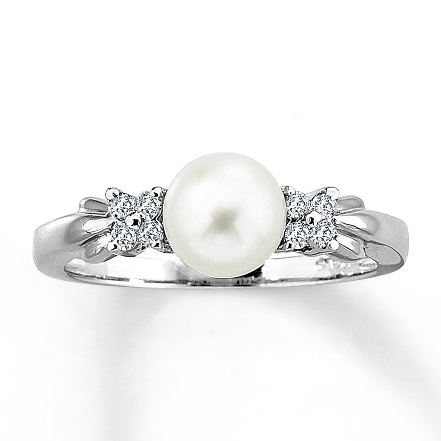 Kay Clearance 10K White Gold Diamond & Cultured Pearl Ring