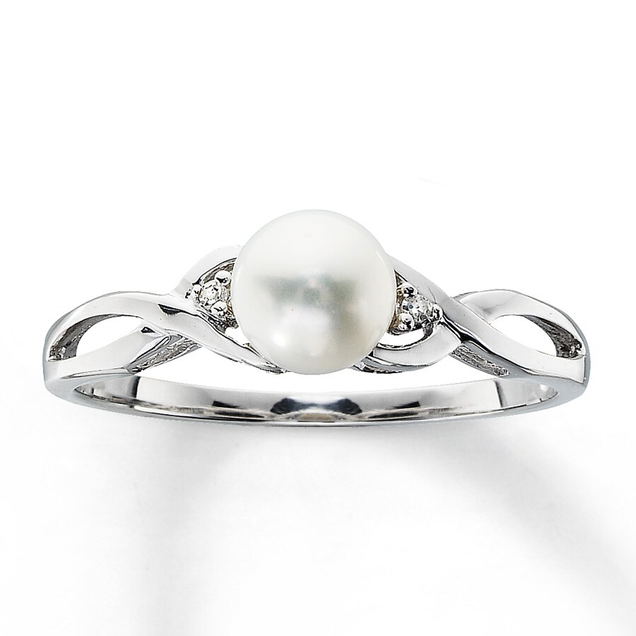 Kay Cultured Pearl Ring With Diamond Accents 10K White Gold