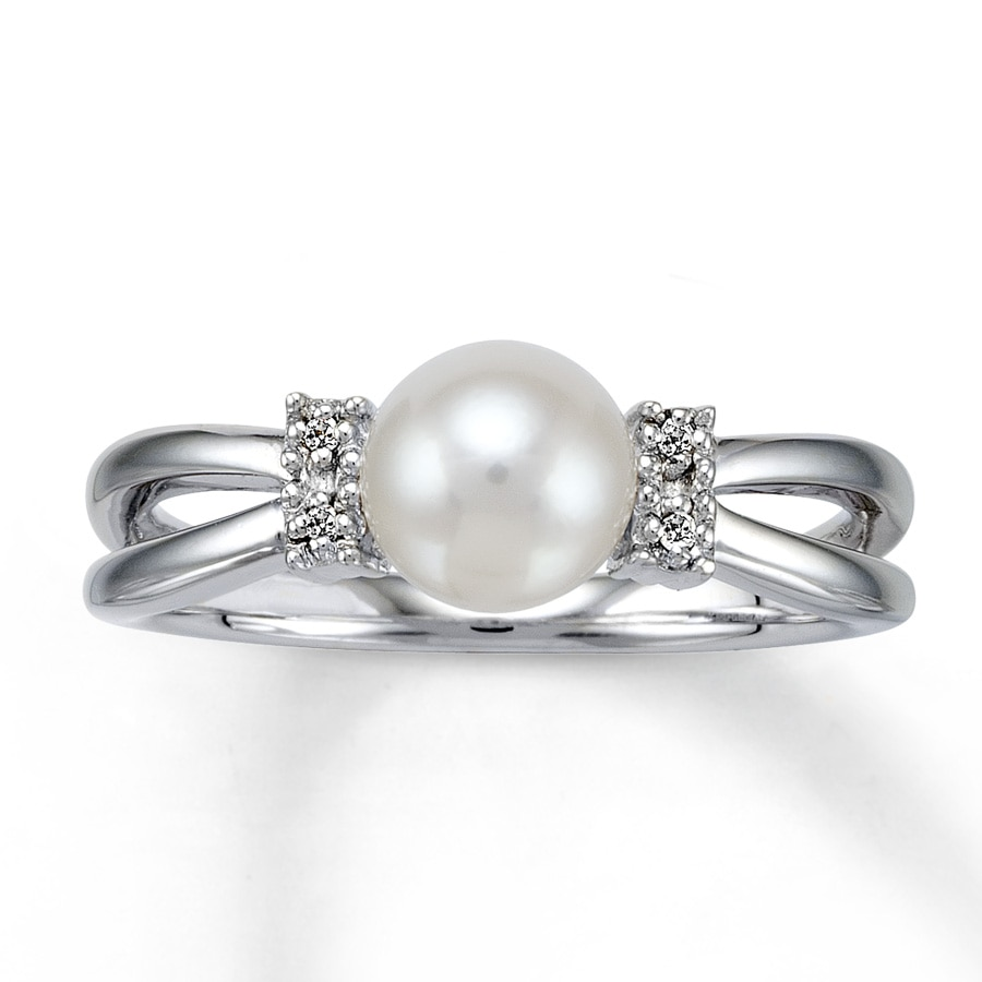 Kay Cultured Pearl Ring With Diamond Accents Sterling Silver