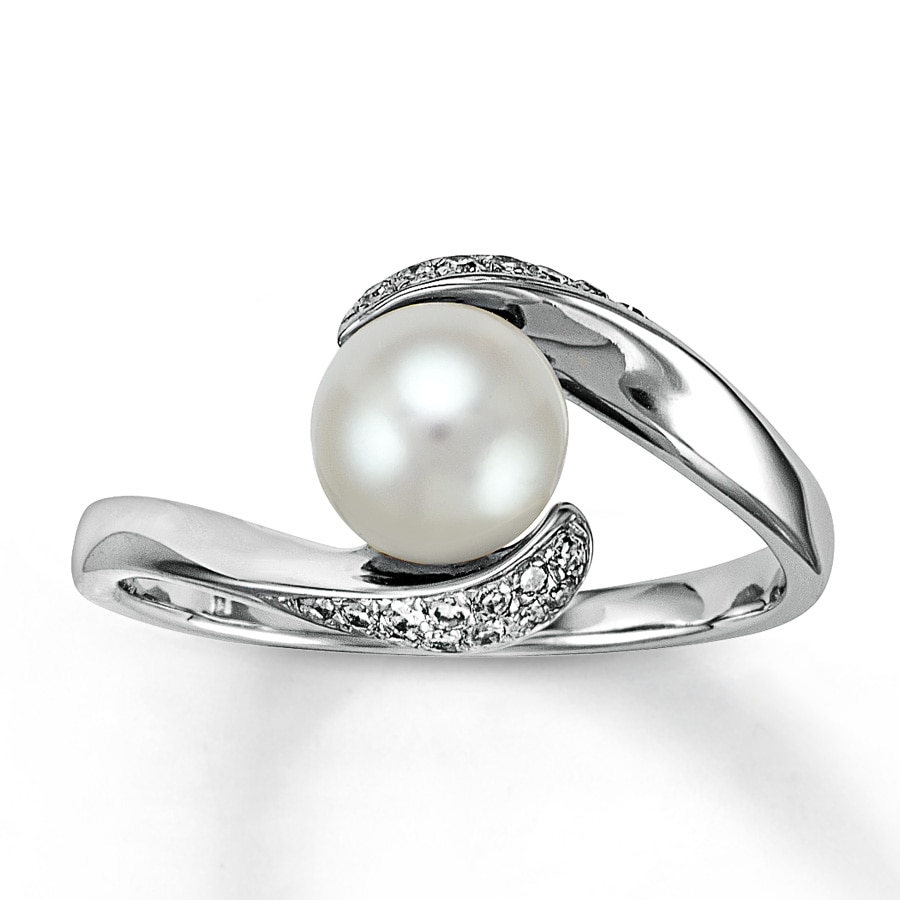 Kay Cultured Pearl Ring 1 10 ct tw Diamonds 10K White Gold