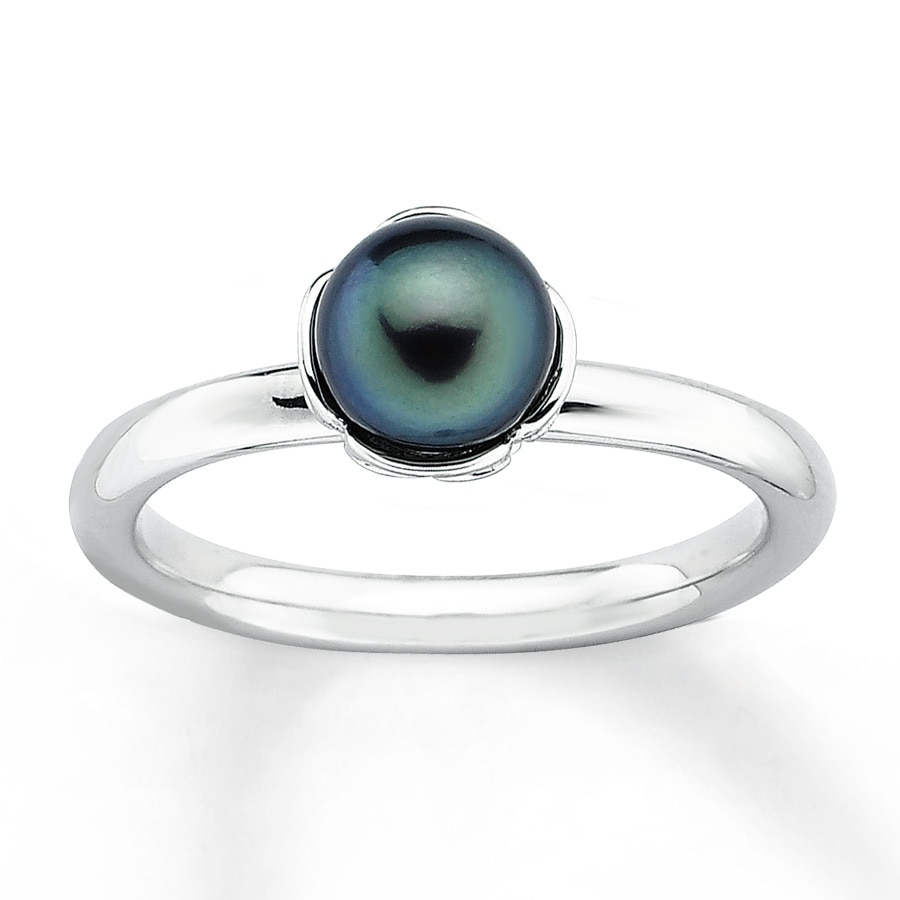 Stackable Ring Black Cultured Pearl Sterling Silver Tap To Expand