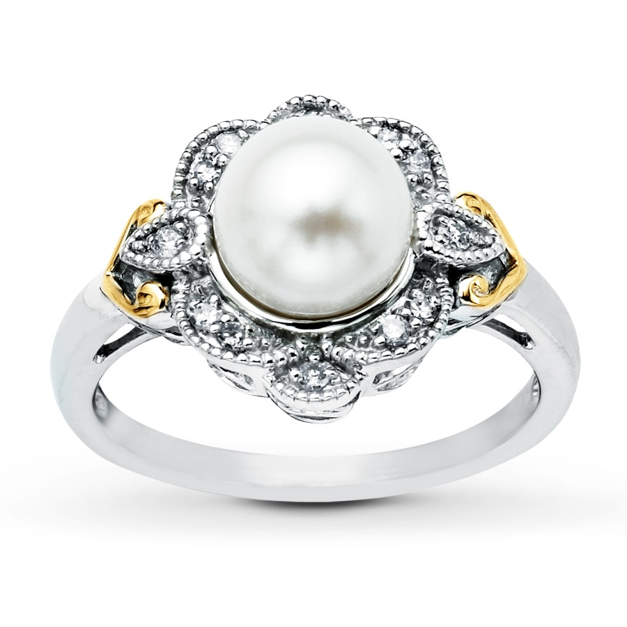 Kay Cultured Pearl Ring Diamond Accents Sterling Silver 10K Gold