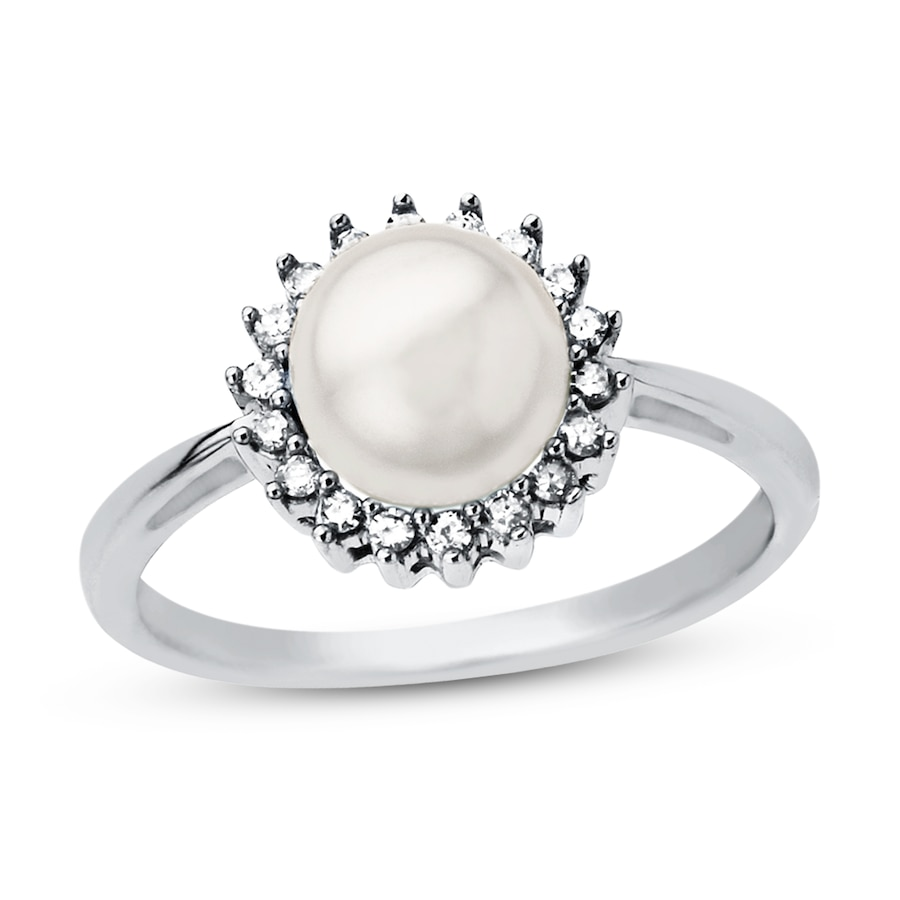 cultured pearl ring 1 8 ct tw sterling silver