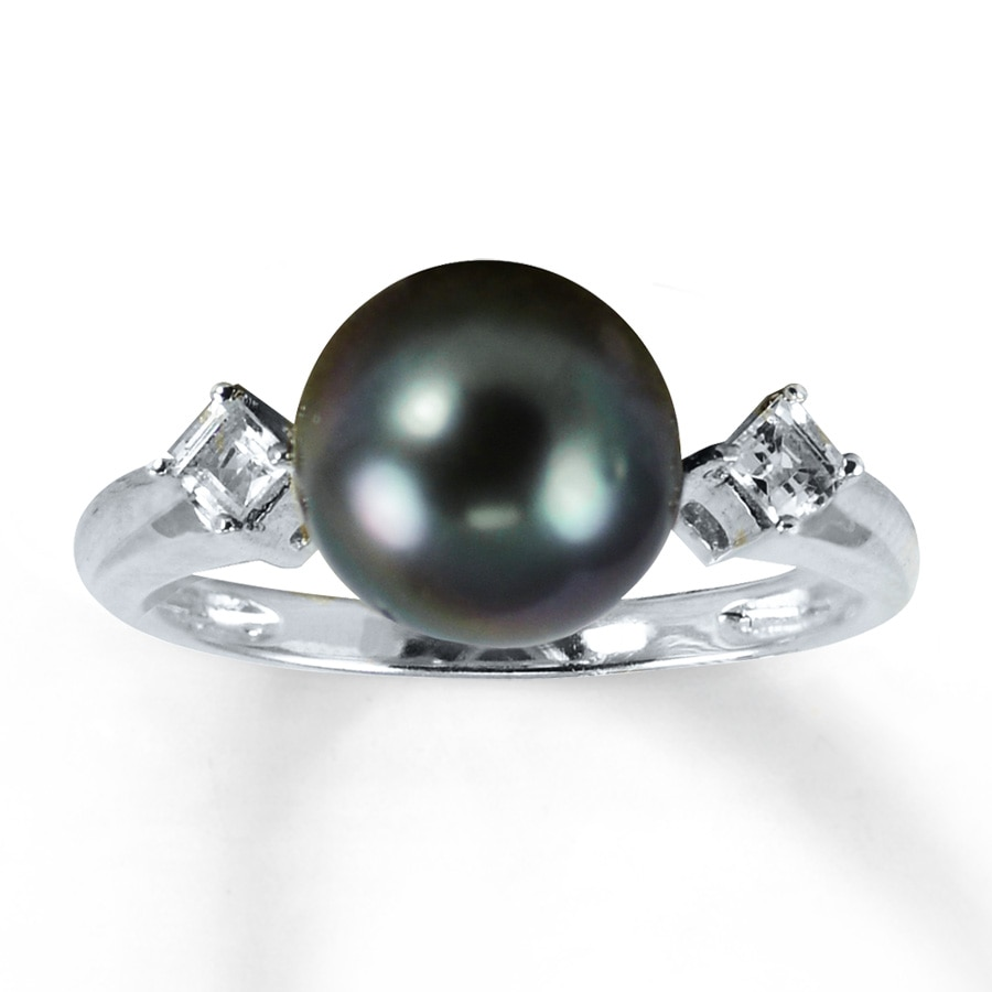 Kay Cultured Pearl Ring White Topaz Sterling Silver