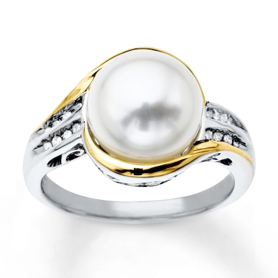 Cultured Pearl Ring 1/15 cttw Diamonds Sterling Silver/10K Gold