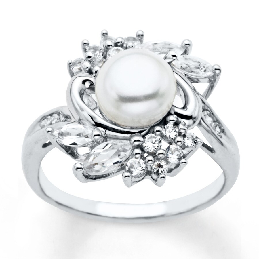 Kay Cultured Pearl Ring Lab Created Sapphires Sterling Silver