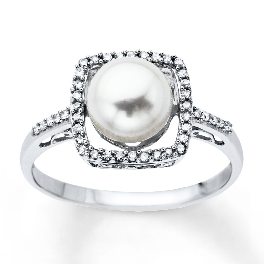 Kay Cultured Pearl Ring 1 8 ct tw Diamonds 10K White Gold