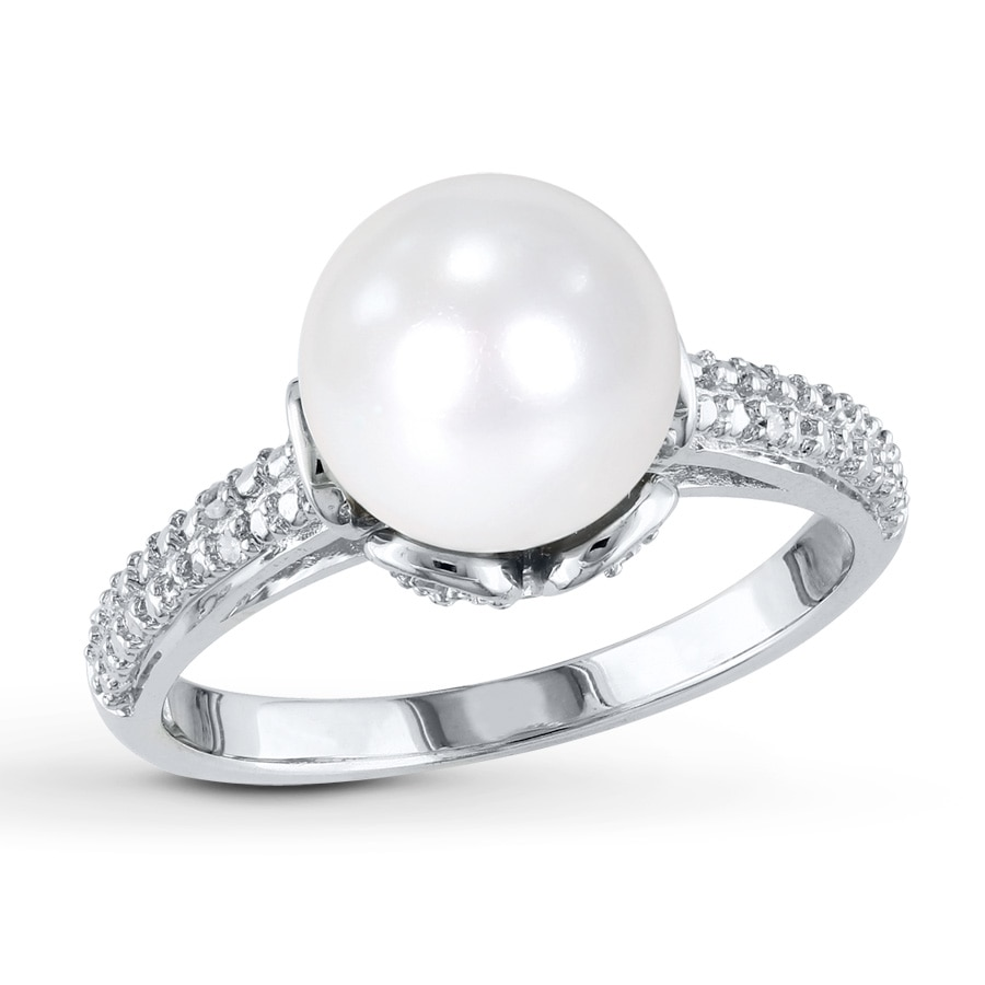 Kay Cultured Pearl Ring Diamond Accents Sterling Silver