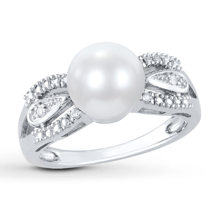 Cultured Pearl Ring 1 20 Ct Tw Diamonds Sterling Silver