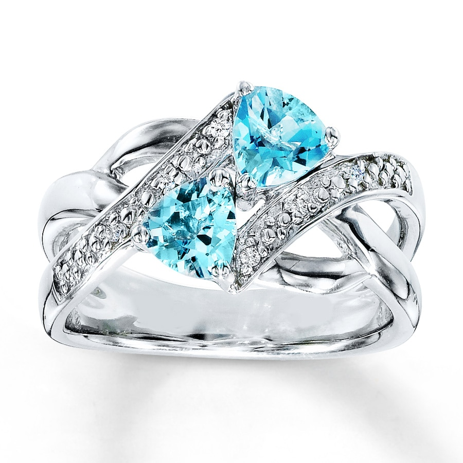 blue topaz ring cut white jewellery gemstone emerald from rings gold image