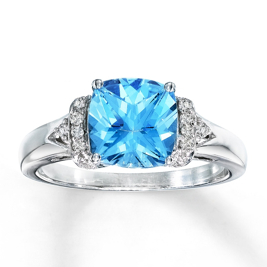 image topaz white swiss gemstone jewellery ring blue rings emerald cut gold