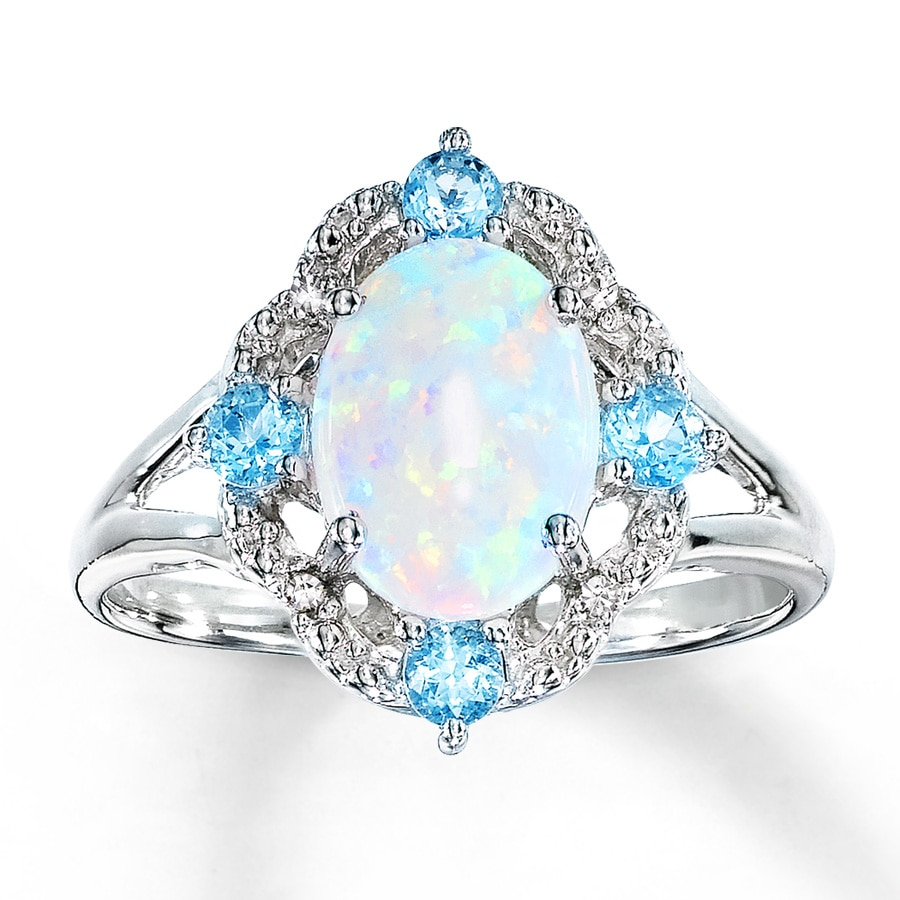 Kay Lab Created Opal Ring Blue Topaz & Diamonds Sterling Silver