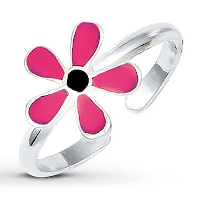 Flower Toe Ring Pink Enamel Sterling Silver