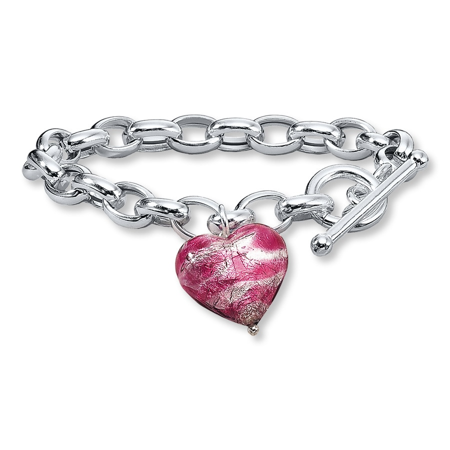 unica bracelets gold nomination silver pink heart bracelet image jewellery sterling