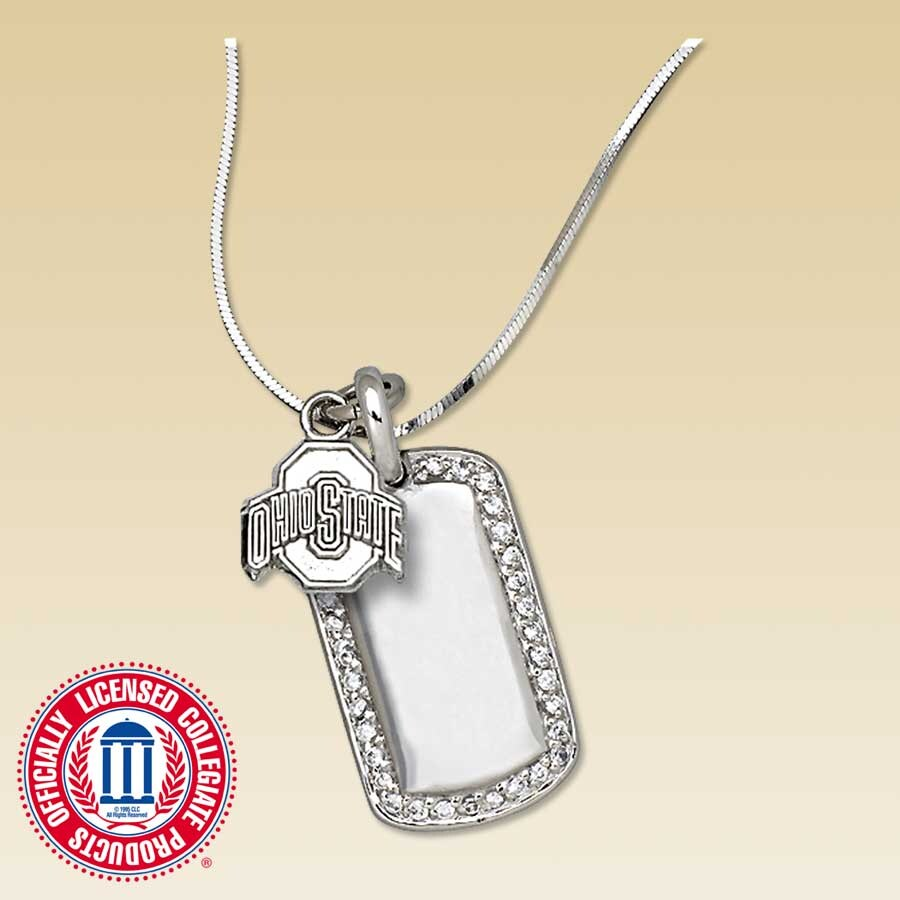 sterling silver ohio state buckeyes tag necklace