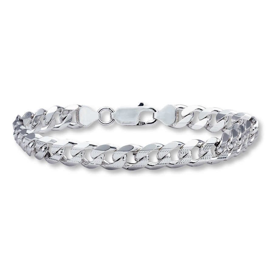 Men S Curb Link Bracelet Sterling Silver 8 Tap To Expand