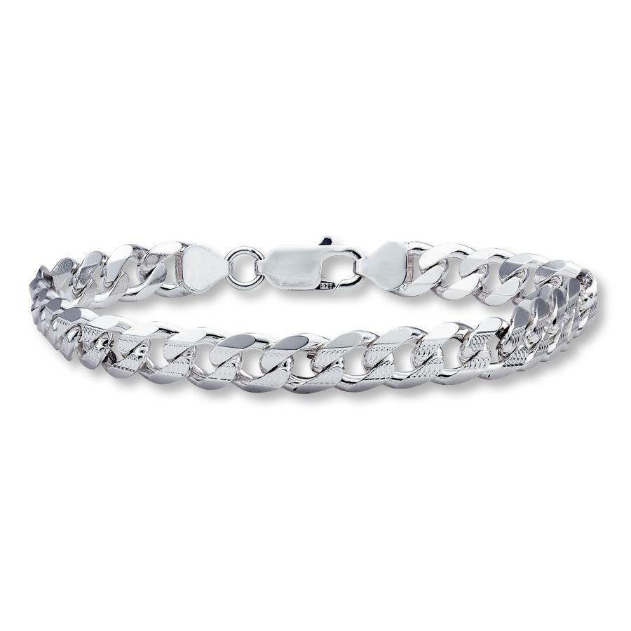 Kay Mens Curb Link Bracelet Sterling Silver 8 Length