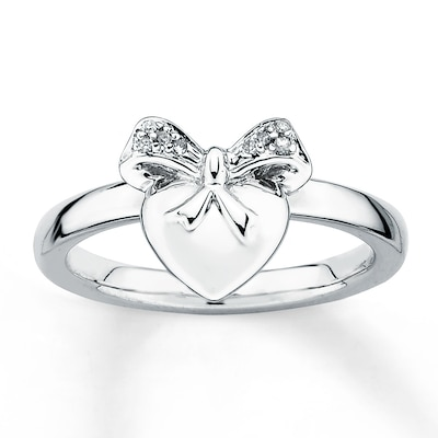 Stackable Heart Ring Diamond Accents Sterling Silver