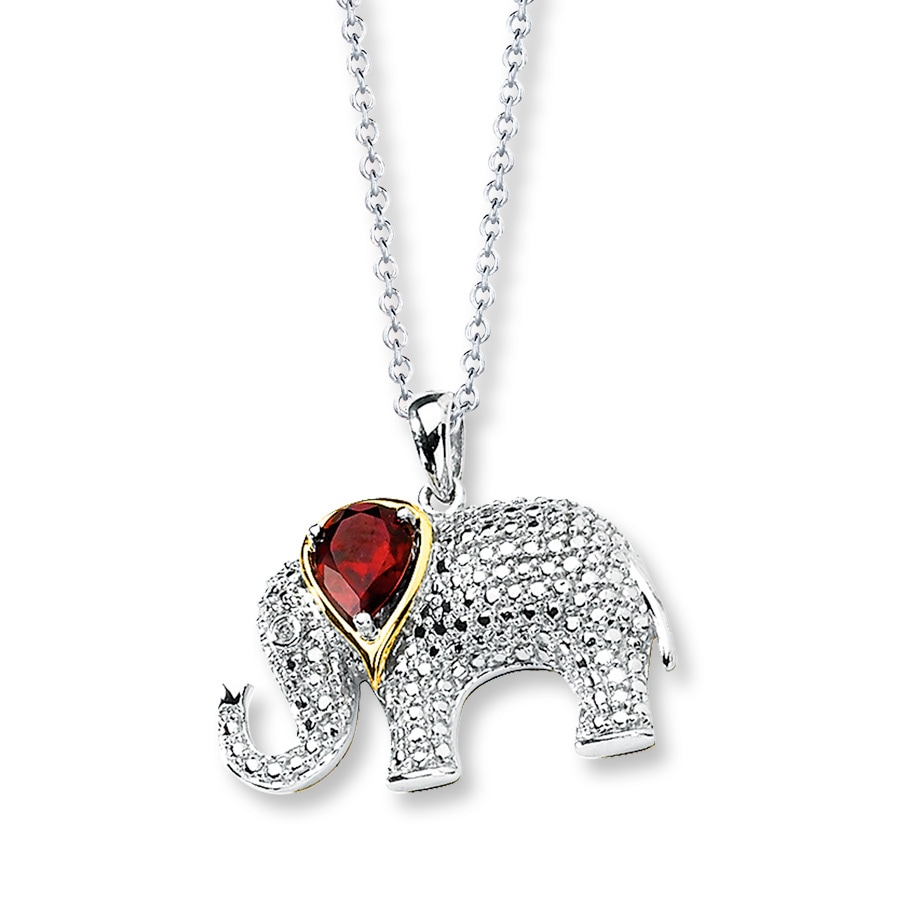Elephant Necklace Garnet Diamonds Sterling Silver 14k Gold
