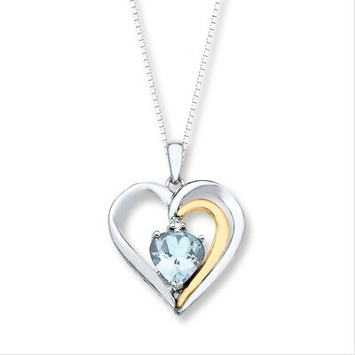 Heart Necklace Aquamarine Sterling Silver/10K Gold