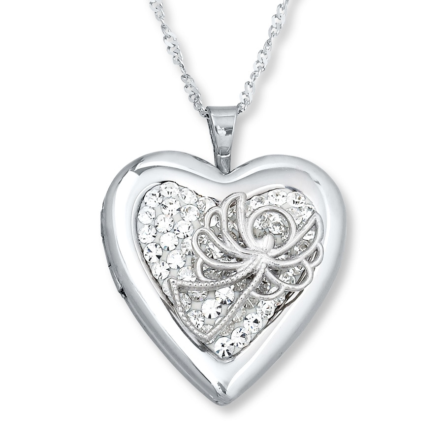 shaped necklace clear locket jewelry heart lockets com silvertone amazon magnetic crystal rim charm dp floating close