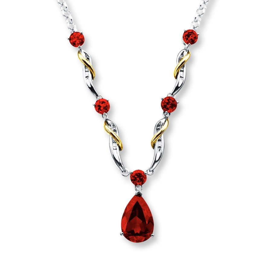 lab created ruby necklace sterling silver 10k yellow