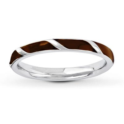 Stackable Ring Brown Enamel Sterling Silver