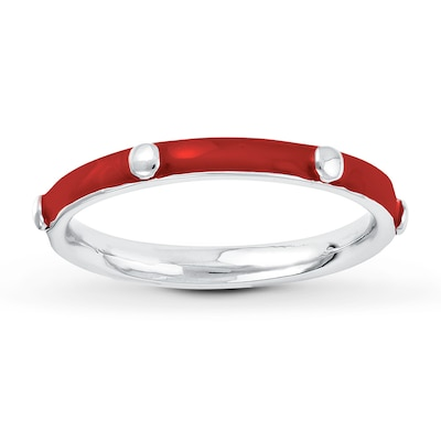 Stackable Ring Red Enamel Sterling Silver