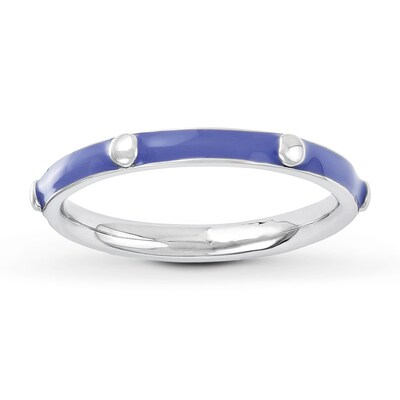 Stackable Ring Purple Enamel Sterling Silver