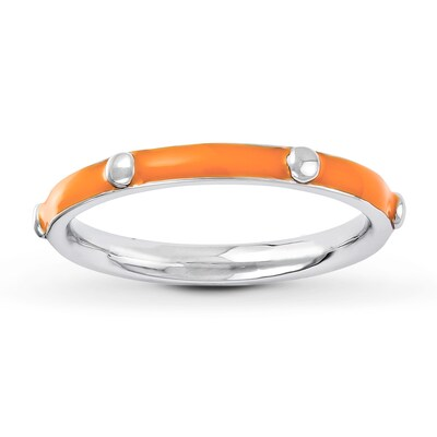 Stackable Ring Orange Enamel Sterling Silver