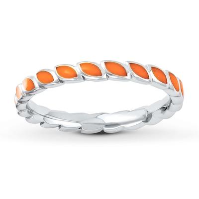 Stackable Ring Orange Enamel Sterling Silver
