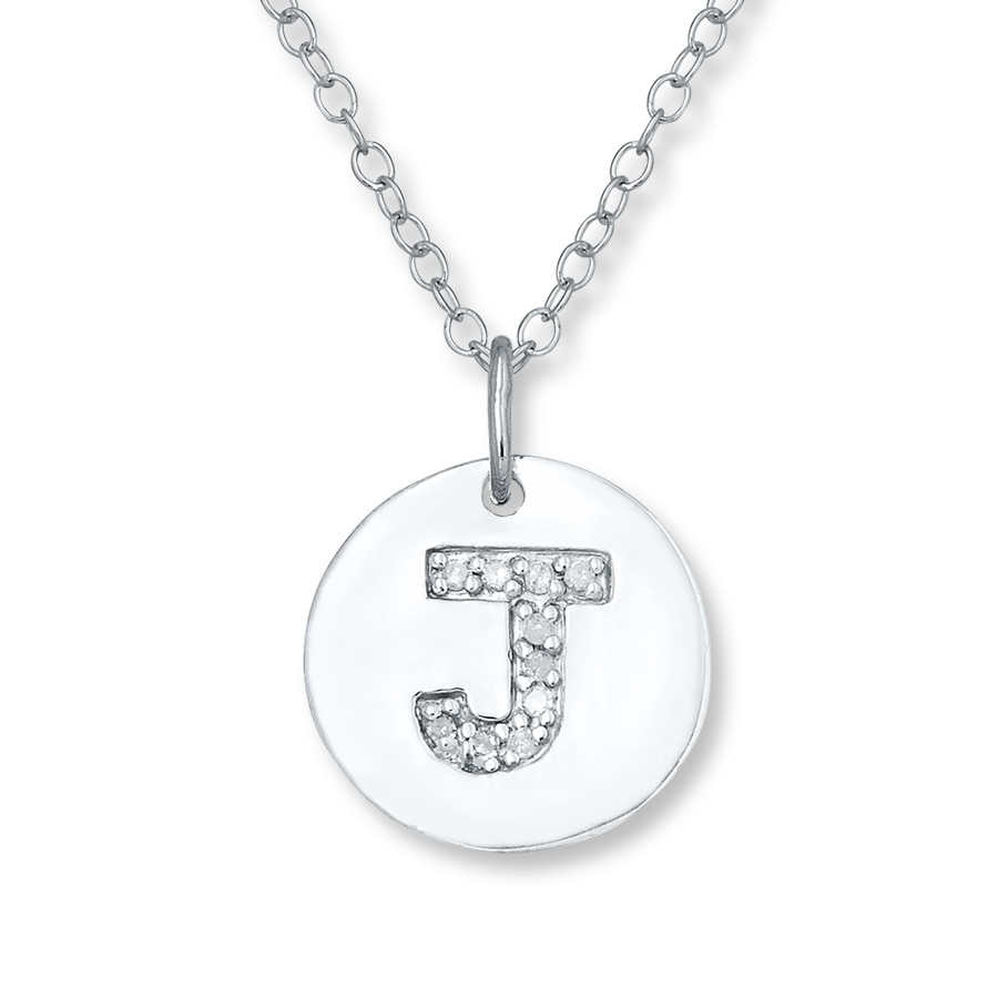 "Kay - Letter ""J"" Necklace 1/20 ct tw Diamonds Sterling Silver"