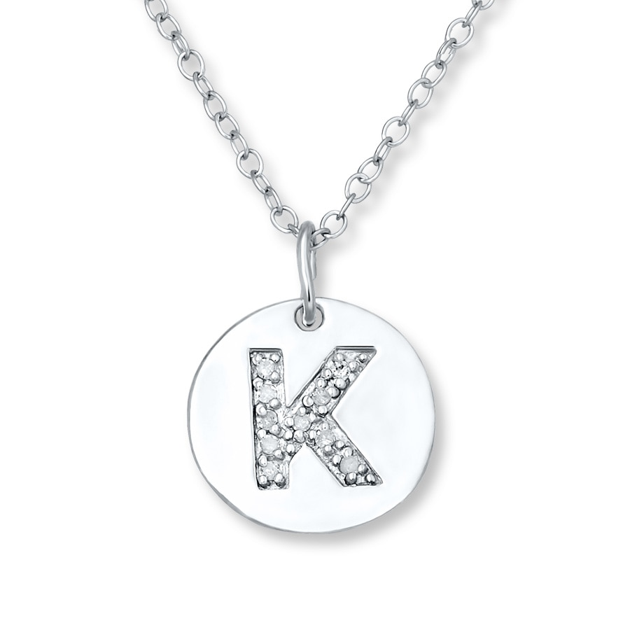 Letter Quot K Quot Necklace 1 20 Ct Tw Diamonds Sterling Silver