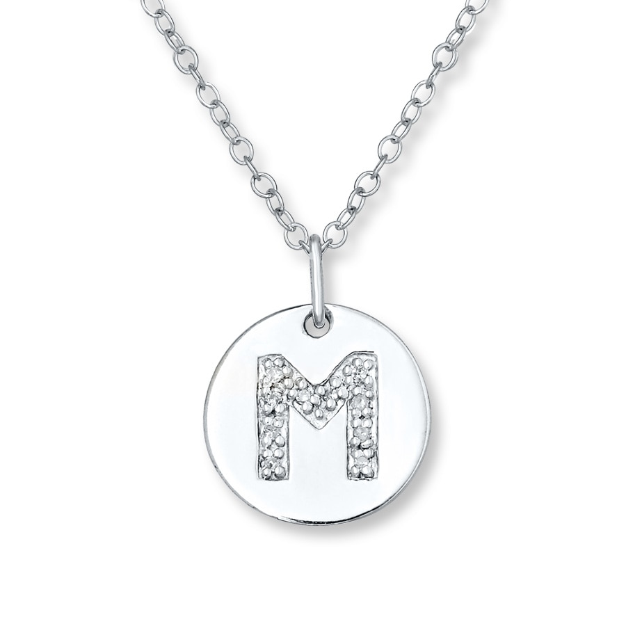 Letter m necklace 120 ct tw diamonds sterling silver 505678805 letter tap to expand aloadofball