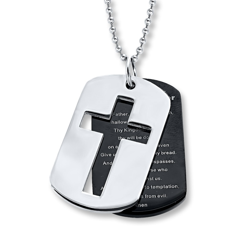 Lord's Prayer Dog Tags Stainless Steel | Mens Necklaces | Necklaces | Kay