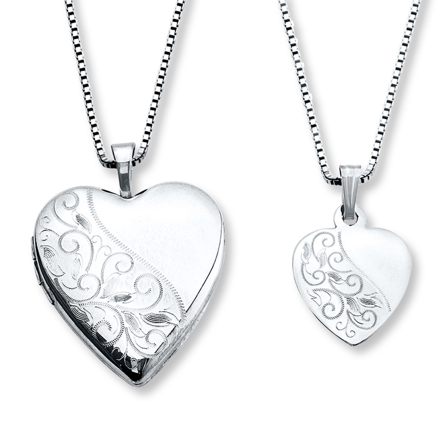 402ab3ac2 Mother/Daughter Necklaces Heart with Swirls Sterling Silver ...