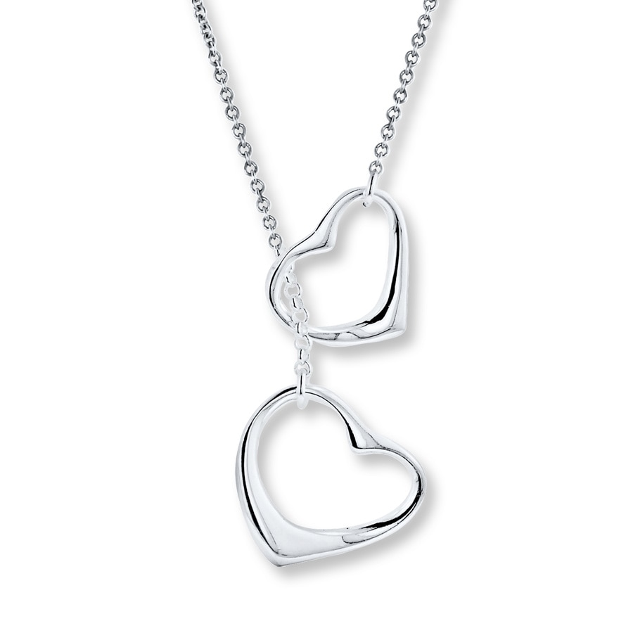 Double heart necklace sterling silver 506382403 kay double heart necklace sterling silver aloadofball