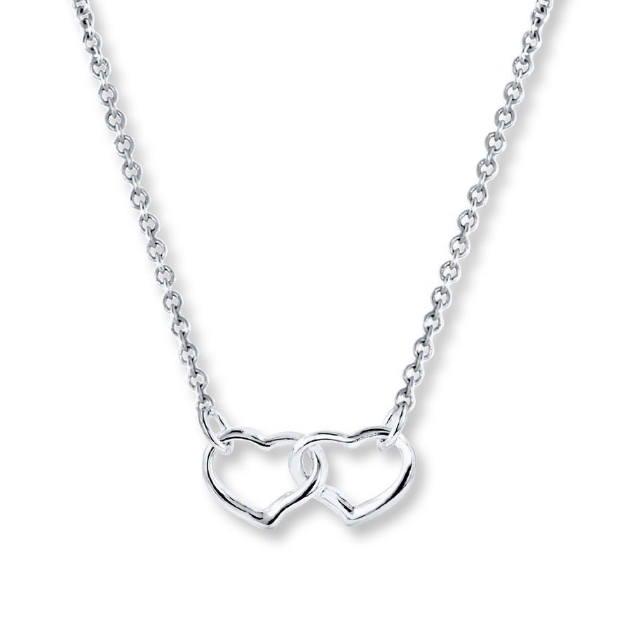 sterling heart accent com double pendant silver diamond quot dp necklace amazon