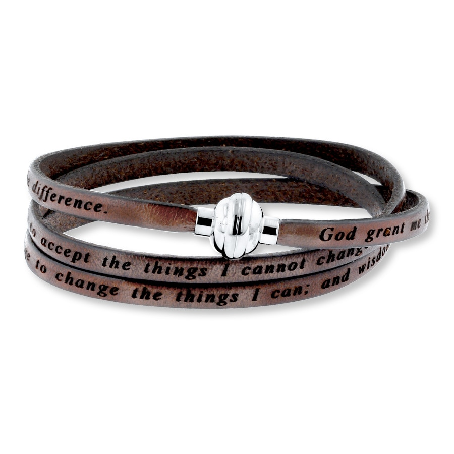 Serenity Prayer Bracelet Brown Leather Stainless Steel
