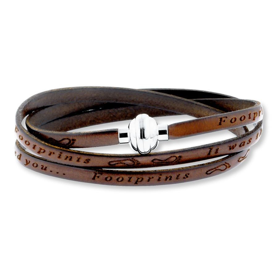 footprints prayer brown leather bracelet stainless steel