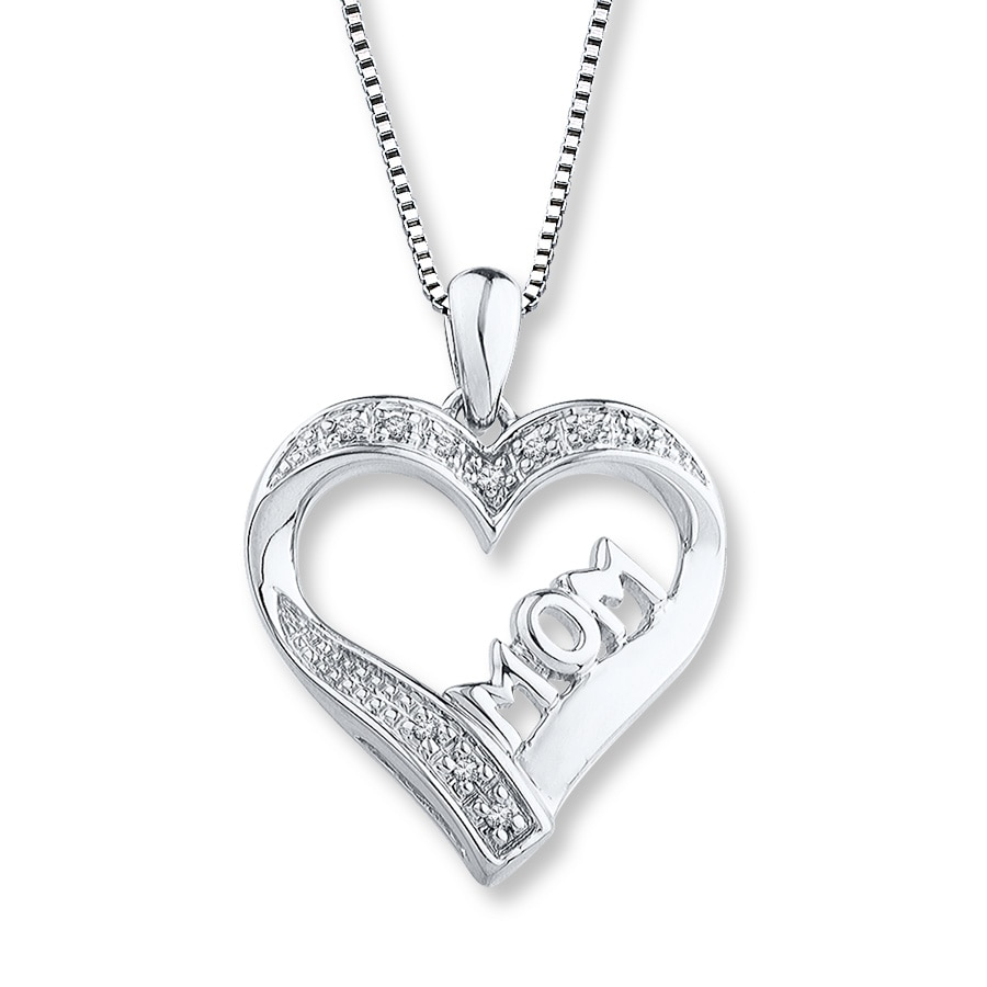 0dc67ce45 Mom Heart Necklace 1/20 ct tw Diamonds Sterling Silver - 506421104 - Kay
