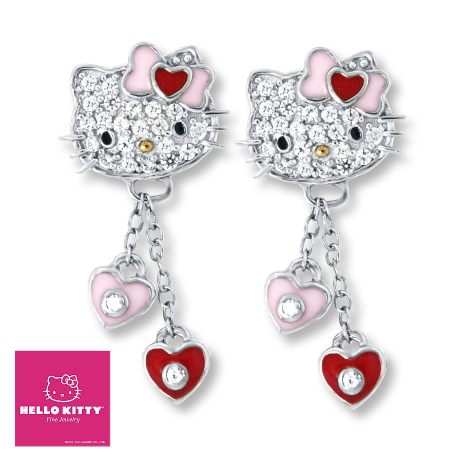 Kay - Hello Kitty Earrings Enamel & Crystals Sterling Silver