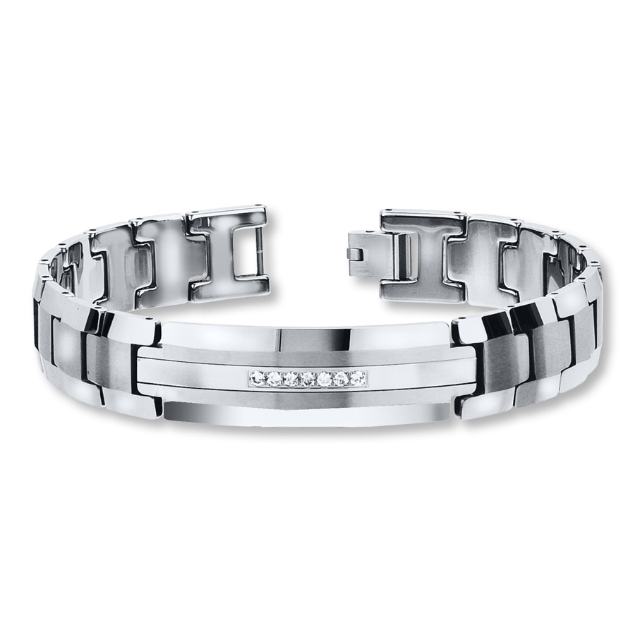 Men S Bracelet 1 5 Ct Tw Diamonds Tungsten Carbide