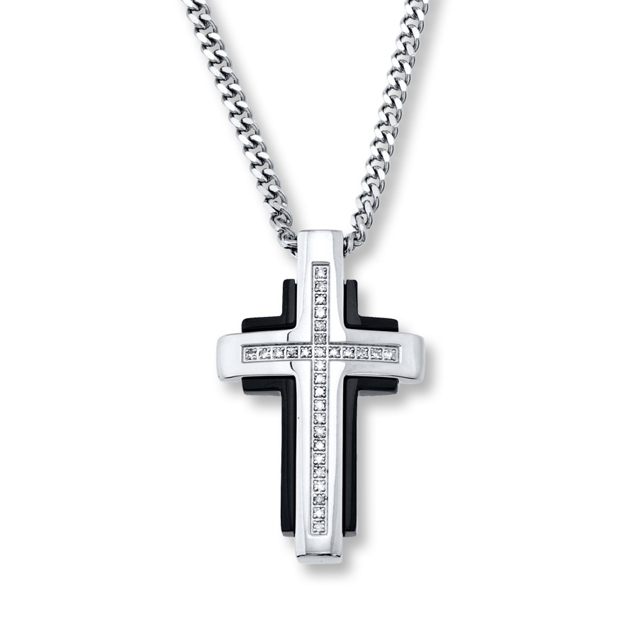 17eb4996750f5 Men's Cross Necklace 1/8 ct tw Diamonds Stainless Steel - 506562709 ...