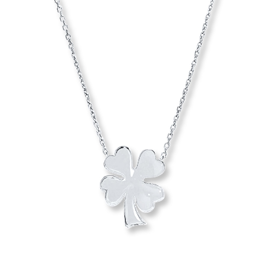 leaf four necklace clover gold chain vermeil bling jewelry key pendant with