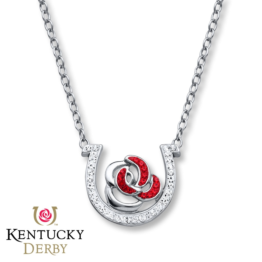 kentucky derby necklace clear crystals