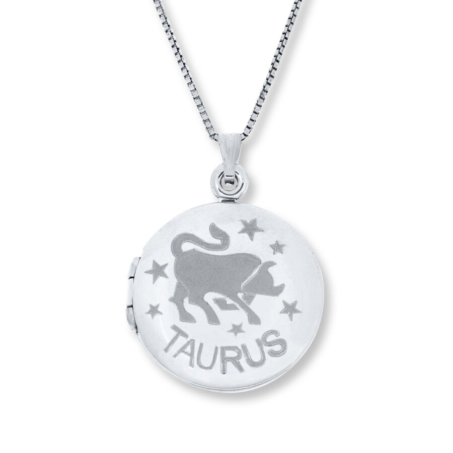 zodiac locket necklace taurus bull sterling silver