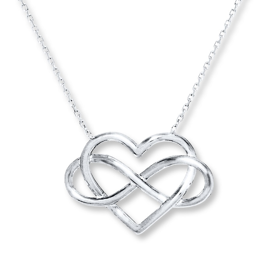 heart infinity with beautiful embedded necklace shaped sterling silver sign pendant