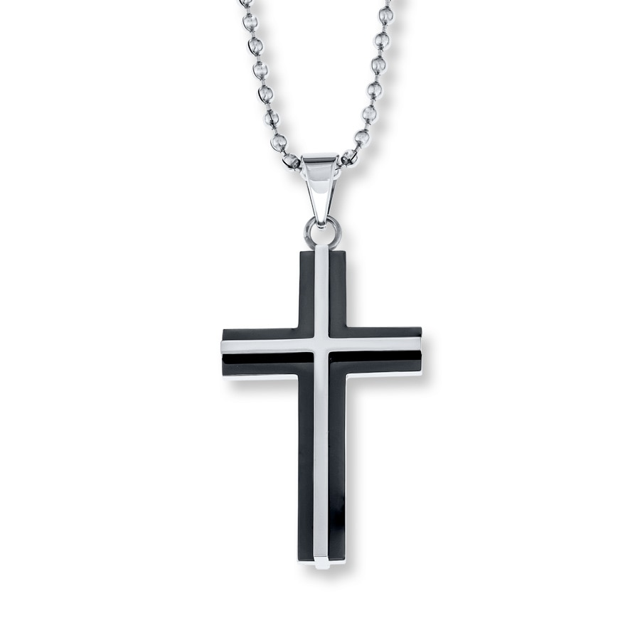 s cross necklace stainless steel 22 quot length